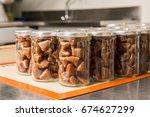 artisanal production of caramel ...   Shutterstock . vector #674627299