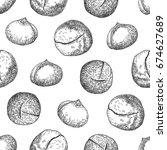 macadamia background. seamless...   Shutterstock .eps vector #674627689