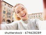 portrait of beautiful joyful... | Shutterstock . vector #674628289