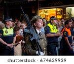 june 19  2017. a female soldier ... | Shutterstock . vector #674629939