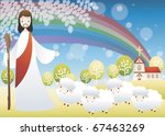 good shepherd and the sheep | Shutterstock .eps vector #67463269