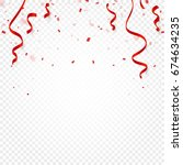 red confetti  serpentine or... | Shutterstock .eps vector #674634235