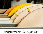 Small photo of Coils of furniture finishing edges plastic band for banding machines
