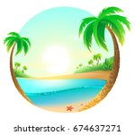 tropical beach among palm trees.... | Shutterstock . vector #674637271