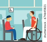 seat for disabled.good manners. ... | Shutterstock .eps vector #674645821