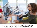 female graphic designer working