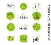 vector eco  bio green logo or... | Shutterstock .eps vector #674650579