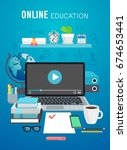 online education  tutorial... | Shutterstock .eps vector #674653441