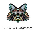 raccoon. black white hand drawn ... | Shutterstock .eps vector #674653579