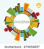 phoenix skyline with color...   Shutterstock .eps vector #674656837