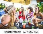 multiethnic group of friends... | Shutterstock . vector #674657461