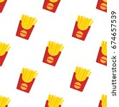 french fries in red paper box ... | Shutterstock .eps vector #674657539