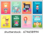 back to school card set  school ... | Shutterstock .eps vector #674658994