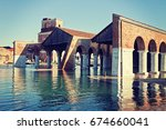 Large Dock at Venice Arsenal. Famous landmark built in 1104, the Arsenal produced the majority of Venice