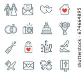 all kinds of wedding marriage... | Shutterstock . vector #674664895