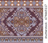 beautiful indian floral paisley ... | Shutterstock .eps vector #674665117