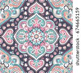 beautiful indian floral paisley ... | Shutterstock .eps vector #674665159