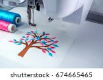 close up picture workspace of ... | Shutterstock . vector #674665465
