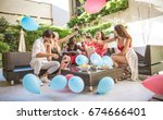 multiethnic group of friends... | Shutterstock . vector #674666401