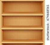 empty wooden bookshelves | Shutterstock .eps vector #674668561