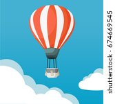 hot air balloon with ribbon in... | Shutterstock .eps vector #674669545