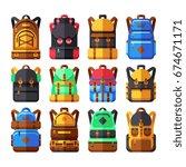 tourist backpack vector flat... | Shutterstock .eps vector #674671171