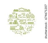 rural landscape and agriculture ... | Shutterstock .eps vector #674671207