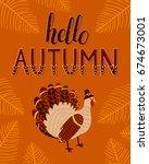 vector illustration with turkey ... | Shutterstock .eps vector #674673001