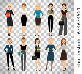 women in office clothes.... | Shutterstock .eps vector #674674951