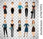 women in office clothes.... | Shutterstock .eps vector #674674951