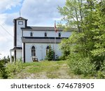 old historic church on fogo... | Shutterstock . vector #674678905