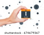 iodine element symbol handheld...   Shutterstock . vector #674679367