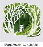 tree with swinging kid   paper ... | Shutterstock .eps vector #674680201