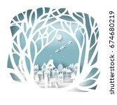 paper art landscape of... | Shutterstock .eps vector #674680219