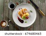 european restaurant breakfast... | Shutterstock . vector #674680465