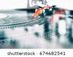 party dj audio setup for music... | Shutterstock . vector #674682541