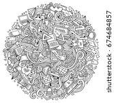 cartoon cute doodles hand drawn ... | Shutterstock .eps vector #674684857