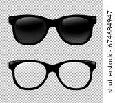 glasses set in transparent... | Shutterstock . vector #674684947