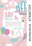 baby shower card with air... | Shutterstock .eps vector #674687329