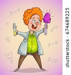 boy scientist surprised by... | Shutterstock .eps vector #674689225