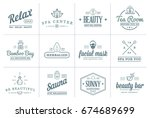 set of raster spa beauty yoga... | Shutterstock . vector #674689699