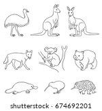 set of stylized vector... | Shutterstock .eps vector #674692201