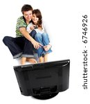 couple watching tv   front view ...   Shutterstock . vector #6746926