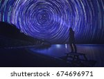 anonymous man enlight the trail ...   Shutterstock . vector #674696971