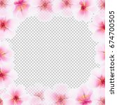cherry flower frame with... | Shutterstock . vector #674700505