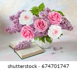 still life with huge lilac... | Shutterstock . vector #674701747