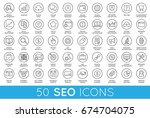 set of raster seo search engine ... | Shutterstock . vector #674704075