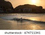 cerro azul  lima  peru  surf at ... | Shutterstock . vector #674711341