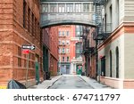 hidden alley scene on staple... | Shutterstock . vector #674711797