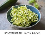 spiralized zucchini | Shutterstock . vector #674712724